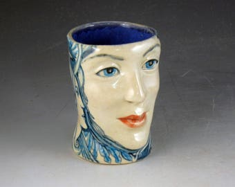 Beautiful face mug, tea cup one of a kind hand made with bird, rabbit and ladies faces