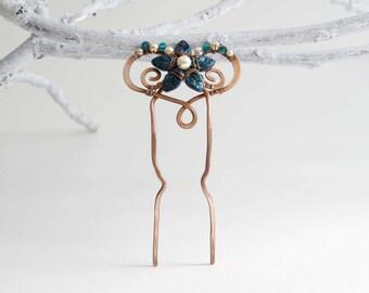 Art Nouveau Deep Blue Copper Hair Fork