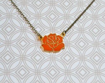 Vintage Orange Rose Enamel Necklace - Floral Jewelry - Vintage Enamel Jewelry - Rose Jewelry - Hard Enamel - Cloisonné
