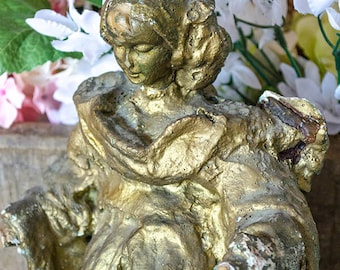 Vintage Angel, Paper Mache, Gilded Paint, Very Shabby