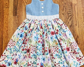 Girls Boutique Sundress, Floral Dress, Chambray Dress, Floral Sundress, Girls Party Dress, Summer Dress, Chambray and Floral