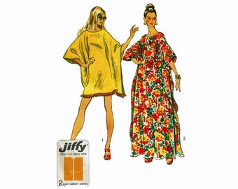 70s Simple to Sew Caftan long or short 1970s Uncut Vintage Sewing Pattern One size Jiffy Simplicity 5628
