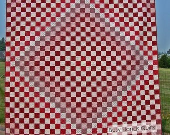 Queen Quilt Set, Trip Around the World Quilt, Red and Cream, Bed Quilt, Quilts For Sale, Handmade, Busy Hands Quilts