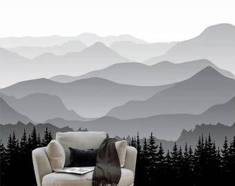 fabric just peel and stick mountain seamless wall mural gray mountain modern art wallpaper