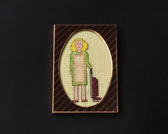 Vintage Framed Cross Stitch Picture of a Cleaning Lady/ Mother/ Wife