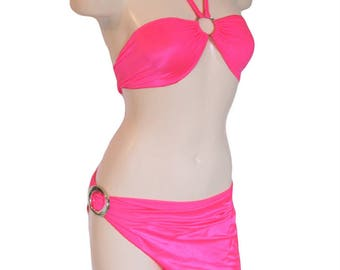 Hi Low Mini Sarong Skirt & O Ring Yolk Top Stripper Exotic Dancer Hot Pink One Size