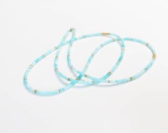 Long Blue Opal Beaded Necklace with Gold Vermeil Spacer Beads
