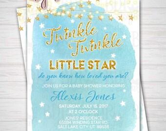 Twinkle Twinkle Little Star Blue Boy Gold Glitter Watercolor Baby Shower Invitation - Customized Digital Download OR Prints (Details Below)