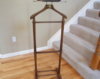 Men's Wood Valet Butler - Vintage Suit Garment Rack Stand - Nevco Mid Century Valet Stand  - Suit hanger plus hook and tray - Clothes Rack