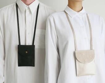 Neck poch rose leather mix, phone bag, phone strap case, cellphone bag, festival bag, mini travel bag