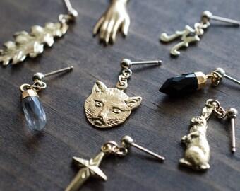 Kitty Post Earrings - Stud Earrings -  Minimalist Jewelry - Boho Earrings - Statement Earrings - Cat Jewelry - Gift for Her