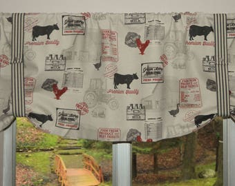 Farmhouse Valance . Tie Up Valance .  Country Valance . Ticking Stripe Straps with Working Snaps . FULLY Lined. Handmade by SeamsOriginal