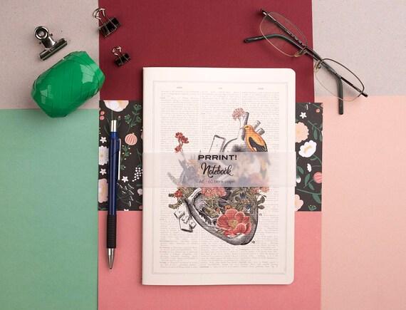 Blank Notebook, A5 journal, Heart with bird Notebook, Medicine student gift, Heart flowers, Floral stationery, College notebook,NBSKA110