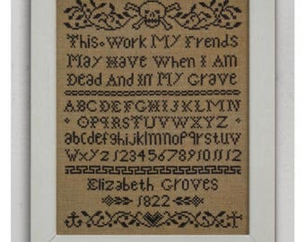 NEW PDF When I Am Dead and In My Grave cross stitch patterns by Dark Crosses at thecottageneedle.com Halloween October wall art embroidery