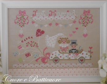 PDF Just Married Oggi Sposi cross stitch patterns Cuore e Batticuore wedding married marriage e-pattern happy couple gift