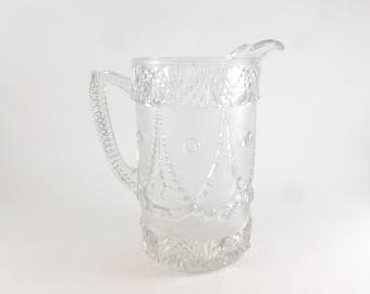 Portland Glass Water Pitcher Festoon Pattern Early American Pressed Glass EAPG circa 1890s