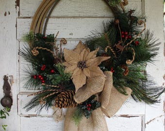Rustic Western Rope Christmas Wreath, Christmas wreath, country, lasso wreath, cowboy, farmhouse Christmas, holiday decor, burlap poinsettia