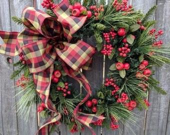Christmas Wreath Berry Wreath Red Burgundy Wreath Bow Berry Christmas and Winter Wreath, Natural Pine Wreath, Natural Christmas Decor