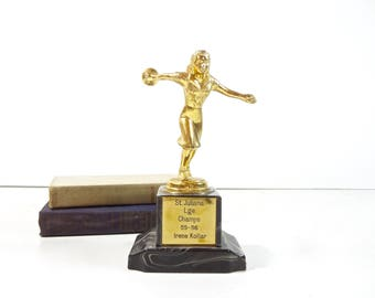 Vintage Trophy / Womens Bowling Trophy / Mid Century Sports Trophy