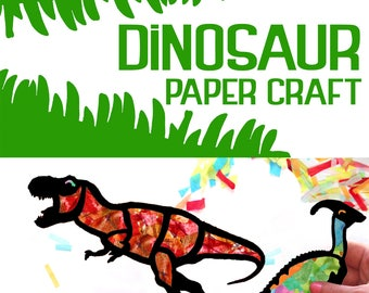 Kids Craft Dinosaur Stained Glass Suncatcher Kit, Using Tissue paper, Arts and Crafts Kids Activity, project