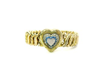 Gold Tone Heart Stretch Links Bracelet. Engraved Locket. Photo, Love Token. Expansion. WWII Rhinestone Sweetheart Jewelry. D.F.B. Co. 1940s