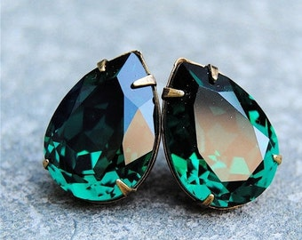 Emerald Green Large Bridal Earrings Swarovski Crystal Emerald Earrings Bridal Jewelry Clip on Stud Earrings