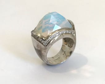 Vintage Sterling Silver Opal Moonstone and Pave Estate Jewelry Ring White Mystic Topaz