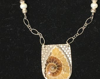 Natural Nautilus - Fossil Ammonite set in sterling silver on sterling chain with sterling silver and pearl beads