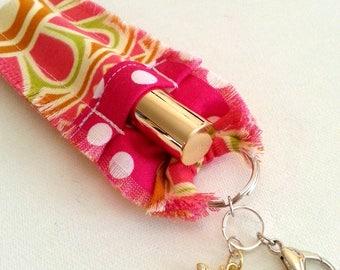 Lip Gloss Holder Keychain for Women, Hot Pink Polka Dots, Lip Gloss Key Chain, Stocking Stuffer, Small Gift, Gift For Sister, Gift For Mom