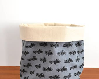 Large Canvas Storage Bucket - Cars