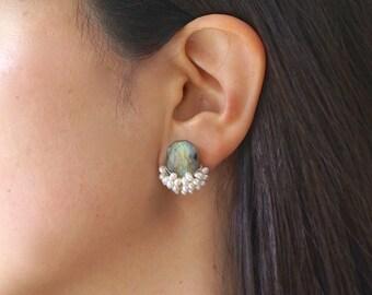 Labradorite cluster earrings - wire wrapped stud earrings