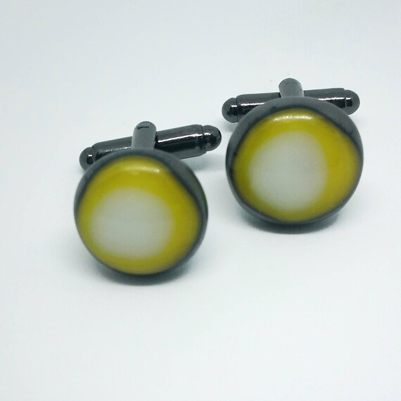 Yellow, Pewter and White Glass Cufflinks