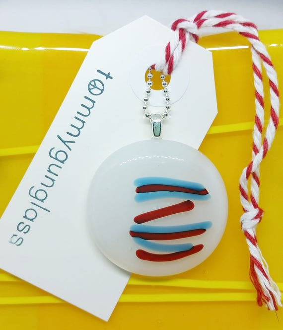 Red White Blue Line Glass Pendant with Silver Chain