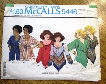 BOHO 1970s Peasant Top / Festival Flutter Top / Empire Line Tunic Top - Size Small (10 - 12) - VINTAGE Sewing Pattern McCalls 5446
