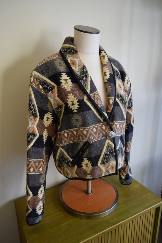 Vintage Southwestern Jacket - Women's Medium - Boho, Bolero, Southwest, Natural