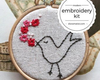 embroidery kit // Tootie whistles a tune - bird & flower embroidery kit