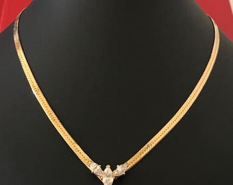 Lovely Flat V Neck Decorative Gold Chain Necklace With Three CZ Marquise Cut Crystals
