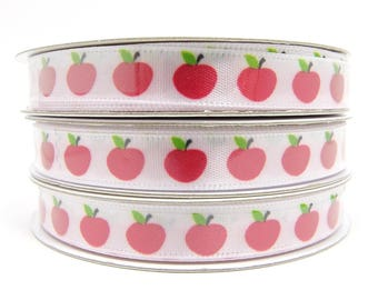 3/8 inch Apple Ribbon, White Ribbon with Red Apples, Back to School Ribbon, Fruit Ribbon, 3 yard roll