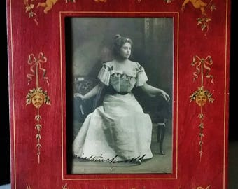 Antique 1905 Sorrento Italian Inlaid Marquetry Wooden Photo Frame