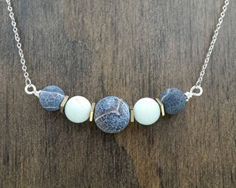 Black Agate & Amazonite Aromatherapy Necklace Essential Oil Diffuser Necklace Lava Stone Pink Rhodonite Necklace