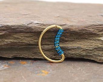 Crescent Moon Gold Septum Ring Gold Daith Piercing Rook Earring Hoop