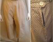 Vintage 1950s Checked Capri Pants with Belt Metal Side Zipper Tan and White 26 Waist
