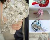 Teardrop Wedding Bouquet using Buttons & Brooch Bridal Bouquet Keepsake Heirloom alternative to flowers