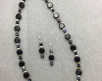 Black Glass Beaded Necklace and Earring Set