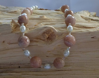 Natural Moonstone & Pearl  Necklace
