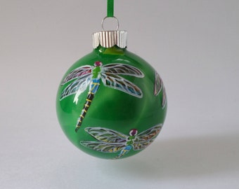 Hand painted dragonfly ornament, green 377