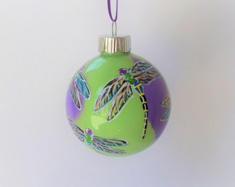 Purple Lime green hand painted dragonfly ornament #391 personalized free