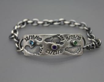 Baby Footprint Bracelet, Baby Footprint Jewelry, Custom Footprint Bracelet, Silver Footprint Jewelry, Baby Feetprints, Actual footprints