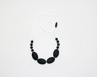 Silicone Teething Necklace | Nursing Necklace | Breastfeeding Necklace | Teething Necklace for Mom | Chewelry | Teething Jewelry | Black