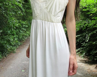 SUMMER SALE! secret garden - ivory organic bamboo with vintage 70's floral lace bohemian chic hippie beach festival wedding maxi dress small